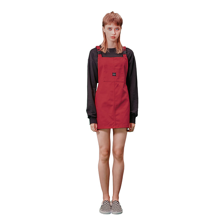 C OVERALL MINI DRESS_RED